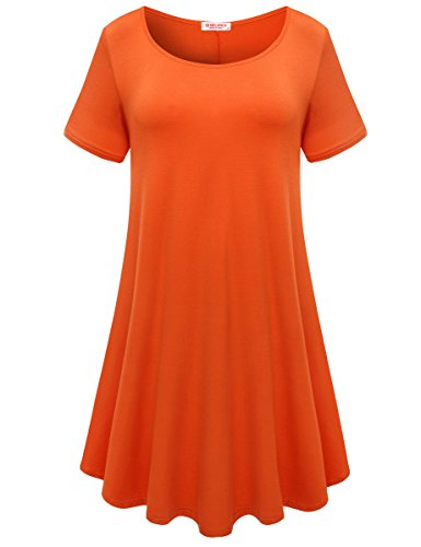 BELAROI Womens Comfy Swing Tunic Short Sleeve Solid T-Shirt Dress (S, Orange)