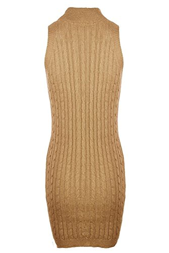 Ashlard Elegant Comfortable Women's Sexy Sleeveless High Shawl Collar Tight Knit Dress ApricotSmall (80s Fancy Dress Plus Size)