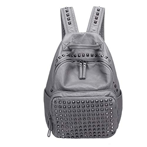 Leather Rucksack Size Pu Soft Backpack Black Size Large Large Bags Gray Rq5xwaxf