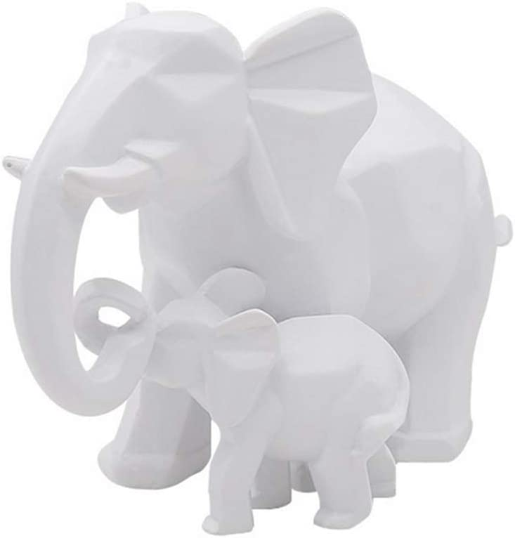 Elephant Mother and Child Sculpture Ornaments Abstract Animal Resin Figure Statue for Home Decoration Accessories Gifts Crafts,Black