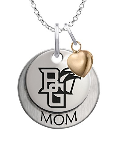 Bowling Green State University Falcons Sterling Silver Stacked MOM Charm Necklace with Heart