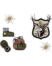 Mono-Quick 358 motieven, 6-delig opstrijkplaatjes klederdrachten, patch, opstrijkbaar, kinderen, volwassenen, polyester, groen, beige, bruin, zwart, BS, 6 stuks