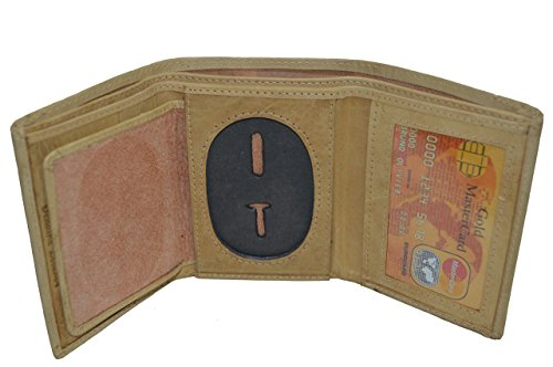 Oval Badge (Leatherboss Police Rounded Oval Shape Badge Holder Trifold Wallet (Tan))