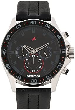 Fastrack Men s 3072SL06 Casual – Chronograph – Black Leather Strap Watch