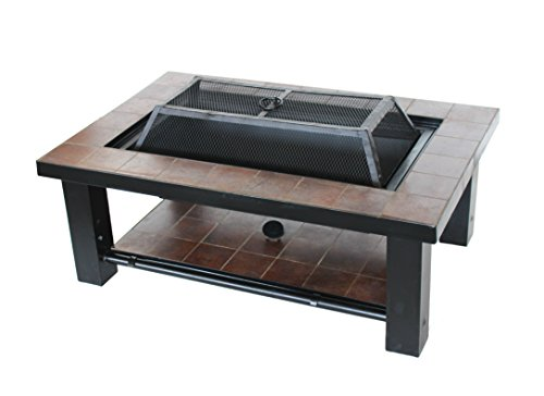 ALEKO FPT015 Rectangular Mosaic Tile Slated Steel Convertible Fire Pit Table with Poker and Lid 36 x 24 x 19 Inches ()