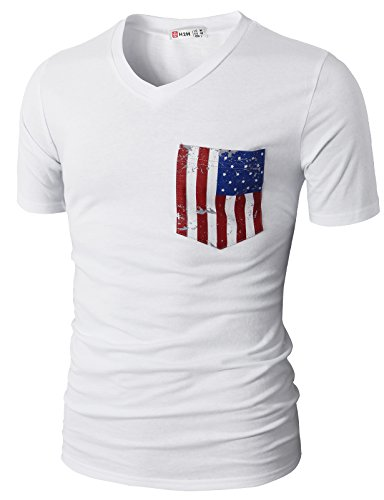H2H Mens Casual V-Neck Short Sleeve Sport T-Shirts with American Flag Chest Pocket White US L/Asia XL (CMTTS0173) - American Flag White T-shirt