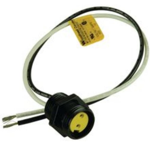 Woodhead 1R2007A20A120 Mini-Change A-Size Receptacle with Lead, Male Right Angle, 2 Pole, 1/2''-14 NPT Mounting Thread Size, UL1061 Cable Type, PVC Cable Jacket, 16AWG Wire Size, 13.0A Max Current Rating, 600V AC/DC Max Voltage, 12'' Cable Length, Front Pan