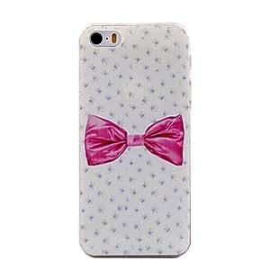 WQQ estuche rígido de fondo de color rosa modelo de nudo mariposa anti-arañazos mate pc para el iphone 5 / 5s