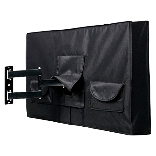 "Outdoor TV Cover 50"" - 52"" - FULLY COVERED - Black - Weatherproof and Dust-proof PVC Coated Oxford Fabric - BUILT TO LAST"