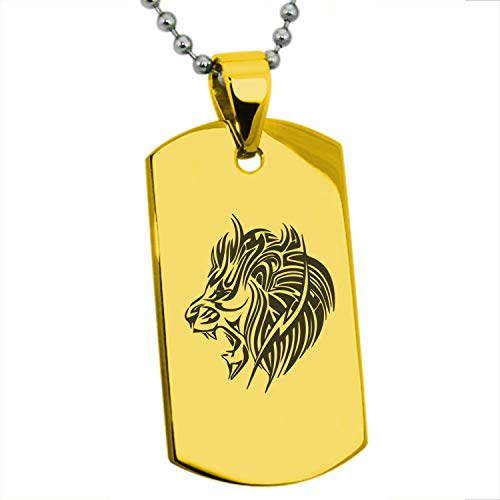 Gold Plated Stainless Steel Tribal Lion Dog Tag Pendant Necklace