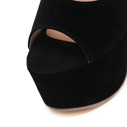 Mujer Sandalias Mirar furtivamente Dedo del pie Señoras Alto Tacón Zapatos Estilete Plataforma Impermeable Ante Negro Fiesta Boda Paseo black