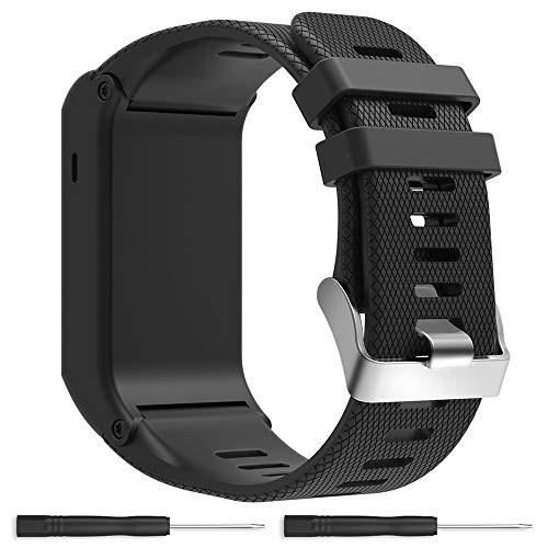 Replacement Band for Garmin Vivoactive HR GPS Smart Watch, Silicone Replacement Fitness Bands Wristbands with Metal Clasps for Garmin vivoactive HR GPS Smart Watch (Black-1)