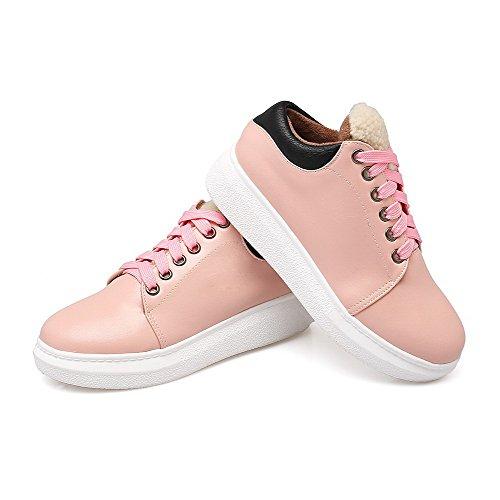 AgooLar Damen Blend-Materialien Reißverschluss Rund Zehe Gemischte Farbe Pumps Schuhe Pink