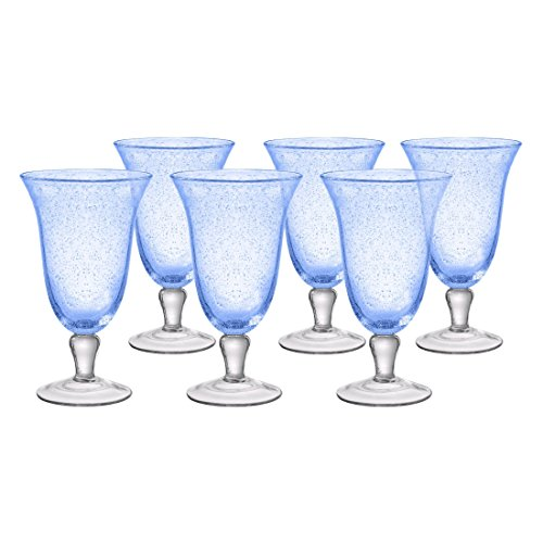 - Artland Iris Seeded Light Blue 18 Ounce Footed Iced Tea Glass, Set of 6