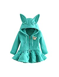 Mud Kingdom Girls' Hooded Ruffle Bottom Fleece Jacket Rabbit Winter Dress