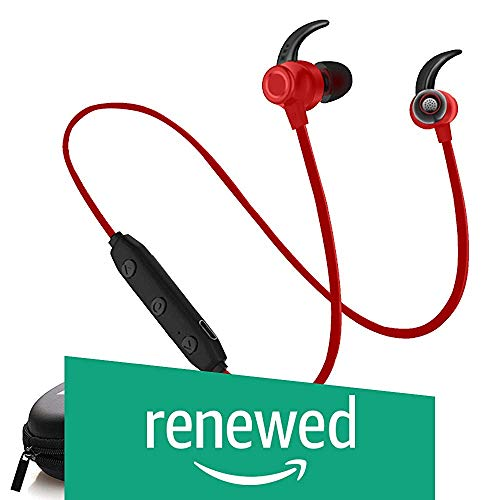 (Renewed) WeCool Bassking In-Ear Wireless Bluetooth Headphones with Mic and Carry Case (Red)