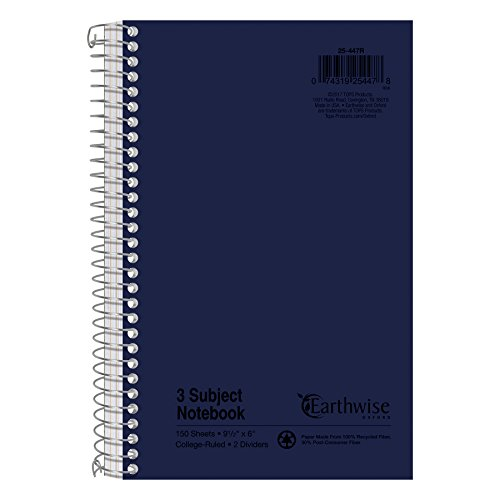 Earthwise by Oxford 25447 Small Size Notebook, College/Medium, 9 1/2 x 6, WE, 150 SH (Divider Subject Books)