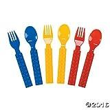 Plastic Color Brick Party Fork & Spoon Set - 16 pcs