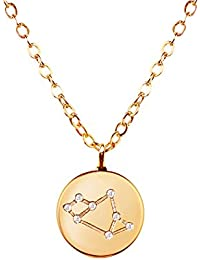 Gold Zodiac Constellation Disc Necklace Cubic Zirconia Crystal Necklace Birthday Necklace Gift Graduation Gift...