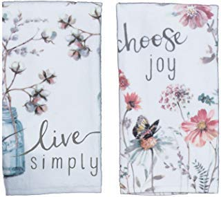 - Kay Dee Designs Kitchen Towel Set (2 pc) - Choose Joy and Live Simply - Terry Hand Towels,White