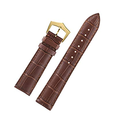 Brown High-End Small Leather Watch Bracelet Replacement with Rectangular Scales Gold Pin Buckle
