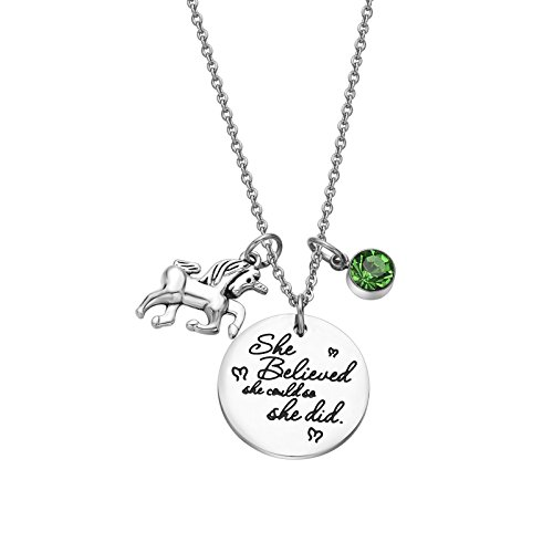 Fullrainbow 2018 Stainless Steel Inspirational Message Heart Necklace Pendant Charm Chain Necklace She Believed She Could So She Did (Aug) (Boy Charm August Birthstone)