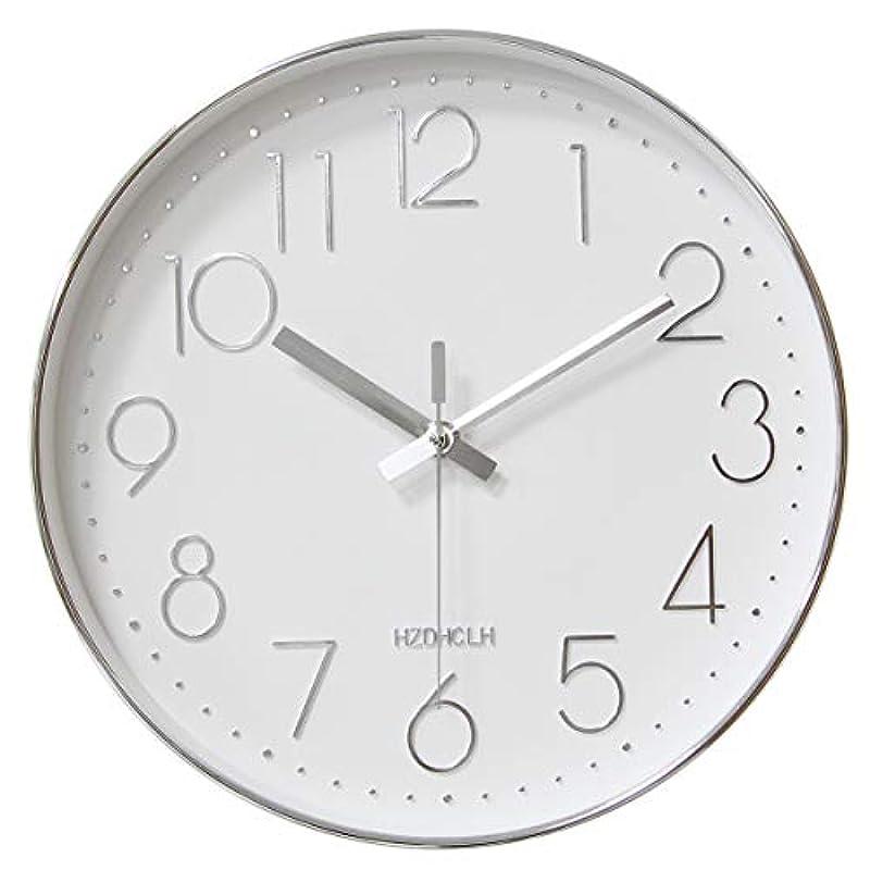 HOMEMOM 벽시계 멋쟁이 연속 초침 정음 벽 시계 방 북유럽 인테리어 괘종시계 보기 편리하 대숫자 현관 30cm (블랙・실버)