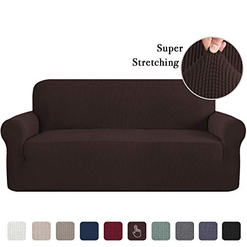 Sofa Slipcovers 3 Seater Sofa Covers for 3 Cushion Couch Sofa Slip Cover Brown Couch Covers Lounge Cover Kids Sofa Covers for Leather Sofa Stretch Sofa Slipcover 1 Piece Furniture Cover Brown