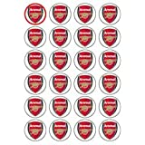 Arsenal Crest style 24 Edible Wafer Paper Fairy/Cup Cake Toppers on an A4 sheet - Birthday Cake and Party Idea