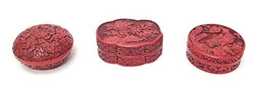 Maitland-Smith Set of Three Painted Faux Cinnabar Lacquer Lidded Boxes ()