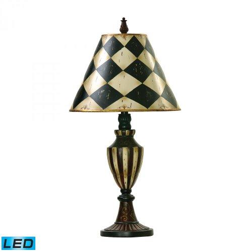 Elk Lighting 91-342-LED Harlequin and Stripe Urn LED Table Lamp, Antique White, Black (Harlequin Traditional Table Lamp)