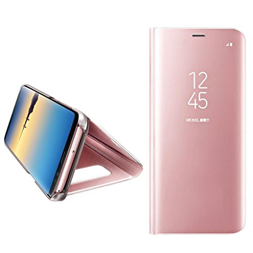 AutumnFall For Samsung Galaxy Note 8 1PC Luxury Smart Window Sleep Wake UP Flip Artifical Leather Stand Holder Case Cover (Rose Gold)