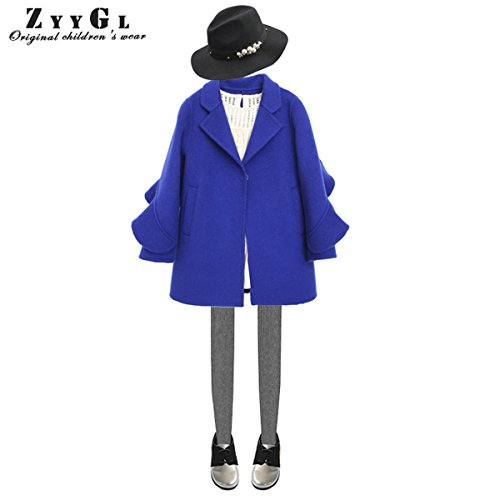 Girls Handmade Coat mid-length Woolen Overcoat Blue by ZYYGL (Image #5)