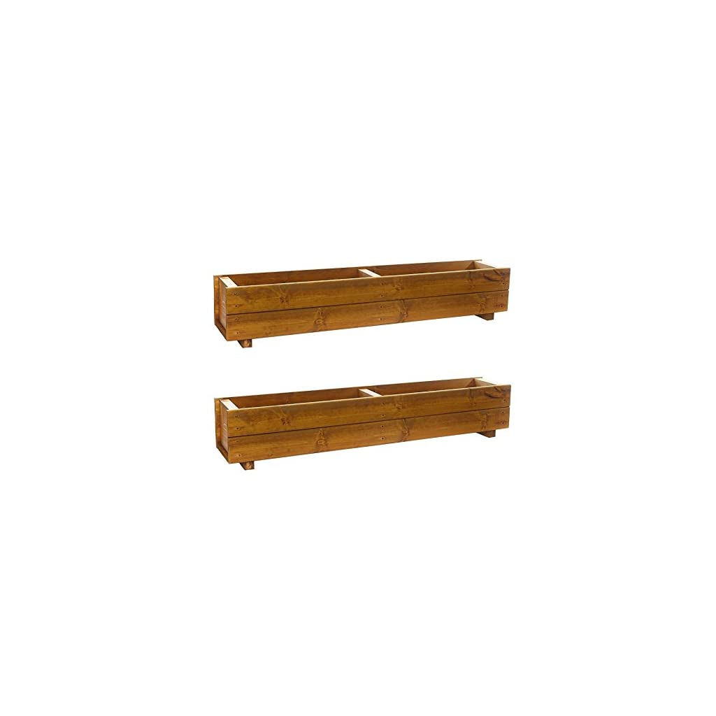 Set of 2 x 120cm Wooden Trough Planters - Large Wood Plant Trough Container Box