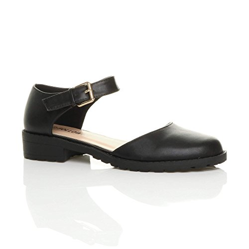 Ajvani Womens Ladies Low Block Heel Ankle Strap Buckle Cut Out Smart Shoes Size Black Matte