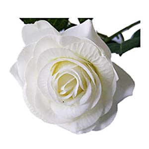 dianpo Artificial Cloth White Rose Single Stem Simulation Flower Wedding Bouquet Arrangements Decor 19