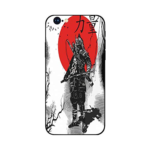 Phone Case Compatible with iphone6 Plus iphone6s Plus mobilephoneprotectingshell Brandnew Tempered Glass Backplane,Japanese,Portrait of Skilled Educated Aristocrat Ancient Knight with Weapon Man ()
