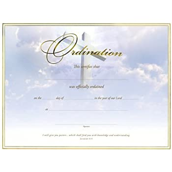 Amazon.com : Certificate-Ordination-Minister (6 Pack) : Blank ...