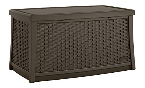 (Suncast Elements Coffee Table with Storage - All-Weather, Lightweight, Resin Constructed Patio Table for Storage of Patio Accessories - Outdoor Storage Box with 30 Gallon Capacity - Java)