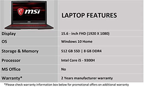 MSI Gaming GL63 9RCX-219INIntel Corei5-9300H 9th Gen 15.6-inch Gaming Laptop (8GB/512GB NVMe SSD/Windows 10 Home/GTX… 5