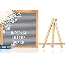 Felt Letter Board by Imperium Innovations (10x10, Grey) [335 Changeable White Letters, Numbers, Emoji, Symbols, Quality Oak Stand, Bag, Scissors] Premium Message Board Sign - Display Your Thoughts