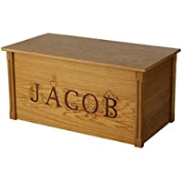 Wood Toy Box, Large Oak Toy Chest, Personalized Thematic Font, Custom Options (Standard Base)
