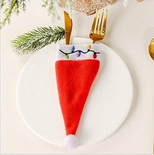 clacce 10 Stück Weihnachten Tischdeko Weihnachtsmann Hut Bestecktasche Besteckbeutel Besteckhalter für Weihnachten Deko