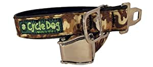 Cycle Dog Bottle Opener Recycled Dog Collar with Seatbelt Metal Buckle, Brown Camo, Medium