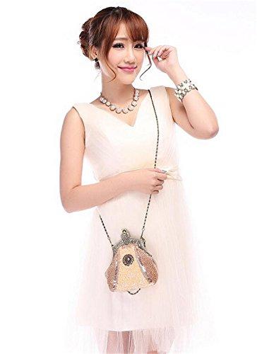 borsa vintage sposa Champagne sera borsetta della borsa APXPF Donna partito frizione del XaqwFF
