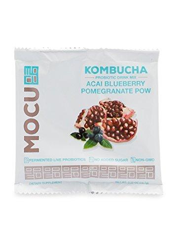 MOCU Kombucha Probiotic Drink Mix, Acai Blueberry Pomegranate Pow - No Sugar Added - 12 Count