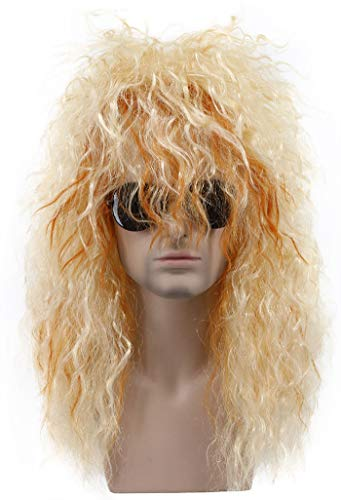 Karlery Mens Long Curly Blonde and Orange 80s Heavy Metal Rocker Wig 70s Themed Party Wig Costume Anime Wig -