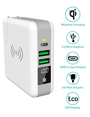 - 3-in-1 International Travel Adapter Wireless Charger Power Bank, QiPlus 6700mah External Battery Pack with Wall Charger and Qi Wireless Charging Pad for iPhone Samsung (LED screen,1xUSB-C+2xUSB-A port
