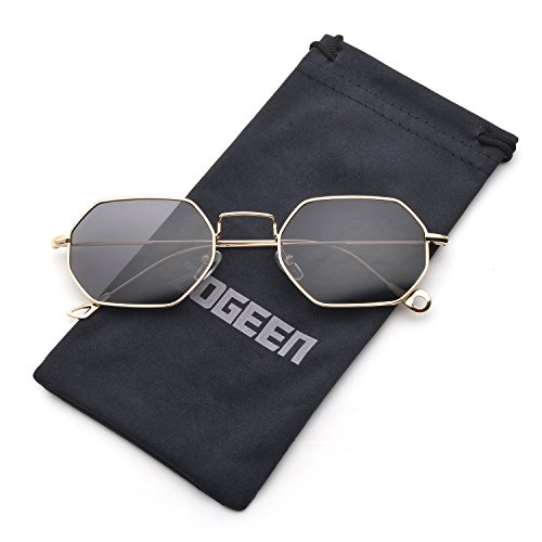 ZOGEEN Men Women Sunglasses Small Metal Frame Asymmetry Temple Z674 - Shape Oval Face Best Sunglasses For