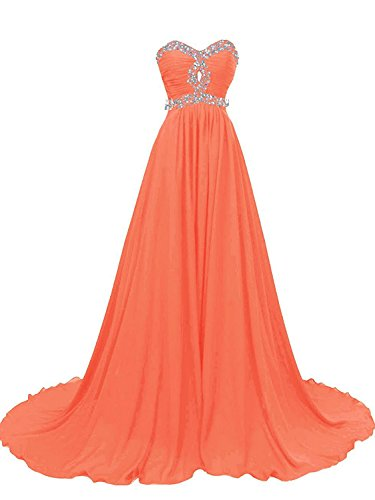 damigella Abiti spalline Arancione da Vestito sera Abito formale da da Senza PRTS Donne Abito Chiffon ballo Lungo vBwnnqpxtE